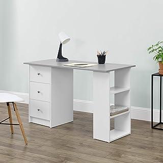[en.casa] skrivbord 120 x 50 x 72 cm med 3 förvaringsfack och lådor kontorsbord vit/ljusgrå datorbord PC bord