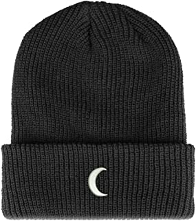 Trendy Apparel Shop Crescent Moon Embroidered Ribbed Cuffed Knit Beanie