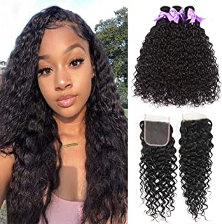8A Water Wave 3 Bundles With Closure Free Part Ocean Curly Wet and Wavy Hair Bundles With 4x4inch Lace Closure 100% Unprocessed Brazilian Virgin Human Hair Extensions No Shedding (12 14 16+10)