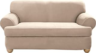 SureFit Stretch Suede - Loveseat Slipcover - Taupe