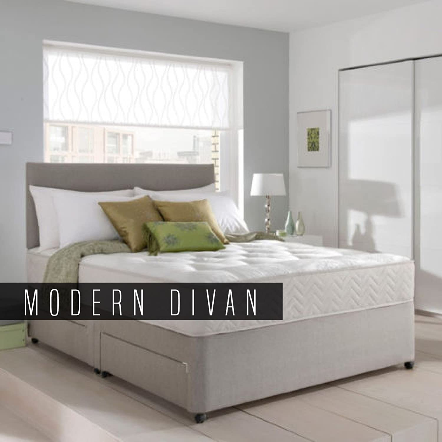 Light Grey Divan Bed with Orthopaedic Mattress, Headboard (4ft6 Double) - Chenile Fabric