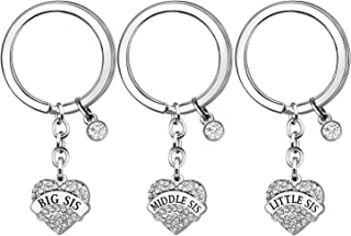 JJIA Sister Gifts, 3 Pcs Sister Keychains Key Rings Keyring for Big Sister Middle Sister Little Sister Christmas Gifts Tha...