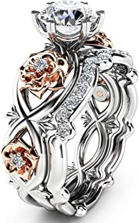 Womens Ring Silver & Rose Gold Filed Wedding Engagement Floral Rings Band