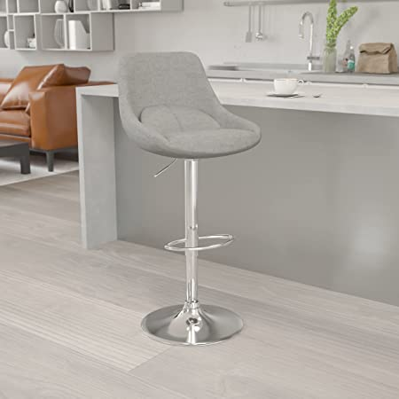 Flash Furniture Contemporary Gray Fabric Adjustable Height Barstool with Chrome Base