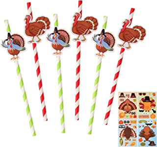 20 Pack Thanksgiving Party Decorative Straws Turkey Thanksgiving Straws with 4 Sheets Make-A-Turkey Stickers Green Red Dri...