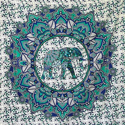 momomus Arazzo Mandala - Colorato - 100% Cotone, Grande, Multiuso - Telo Mare Antisabbia Matrimoniale, Leggero, XXL - Pareo - Teli Mare Grandi, Turchese, 210x230 cm
