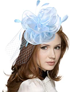JAWEAVER Fascinators Hat Feather Satin Tea Party Cocktail Headwear Church Hat for Women Girls