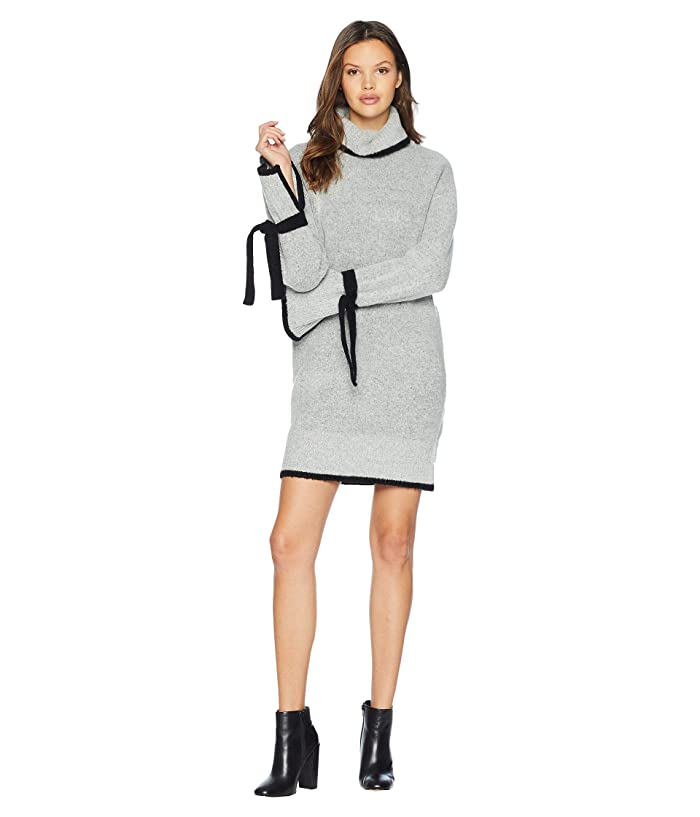 J.O.A. Color Block Hem Tie Sleeve Sweater Dress (Grey) Women