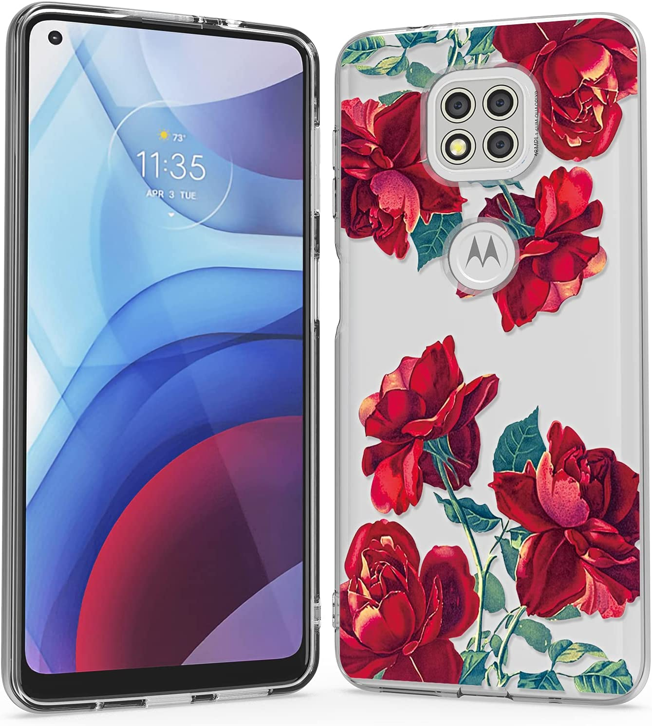 WZOKA for Motorola G Power Case, Slim Soft Phone Case for Moto G Power 2021, Beautiful Classic Basic G Power (2021) Phone Case for Men Women (Rose Red)