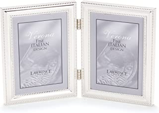 Lawrence Frames 510745D Silver Plated Double Bead Hinged Double Picture Frame, 4 by 5-Inch
