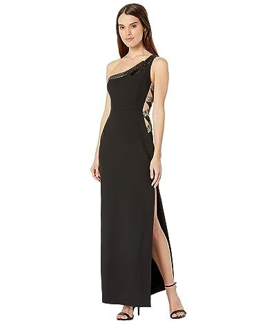 BCBGMAXAZRIA One Shoulder Gown with Sequin Details (Black) Women