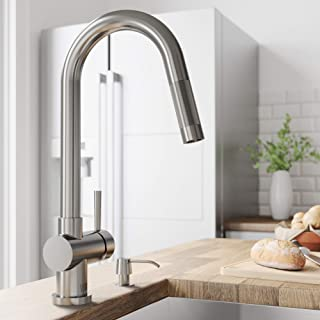 VIGO VG02008STK2 Gramercy 17 Inch Single Handle Pulldown Arc Brass Kitchen Sink Faucet with Soap Dispenser, Single Hole Install, 360 Swivel Spout, Premium Seven Layer Plated Stainless Steel Finish