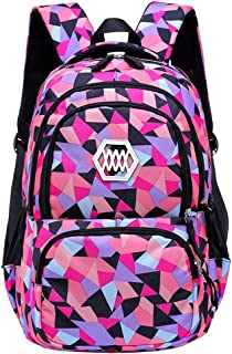 BOZEVON Schoolbag - Geometric Prints Primary School Students Satchel Backpack Primary Girls Children's Large Capacity Bookbag (Style 3)