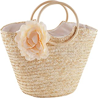 Womens Girls Beach Tote Bag Handmade Original Straw Woven Shoulder Bags Elegant Flower Decor Wood Top Handle Handbag