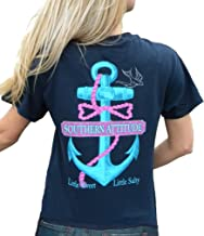 Southern Attitude Salty Anchor Navy Blue Preppy Short Sleeve Shirt