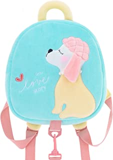Me Too Kids Leash Bags Toddler Plush Backpack with Safety Harness Playful Preschool Kids Baby Snacks Bag for Little Children(12-36M) Blue Poodle Dog 10.5''
