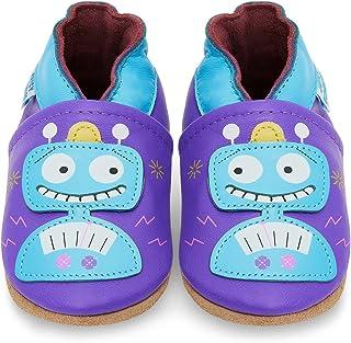 YIHAKIDS miękkie, skórzane buty do nauki chodzenia, buty do raczkowania, kapcie niemowlęce z zamszową podeszwą dla chłopcó...