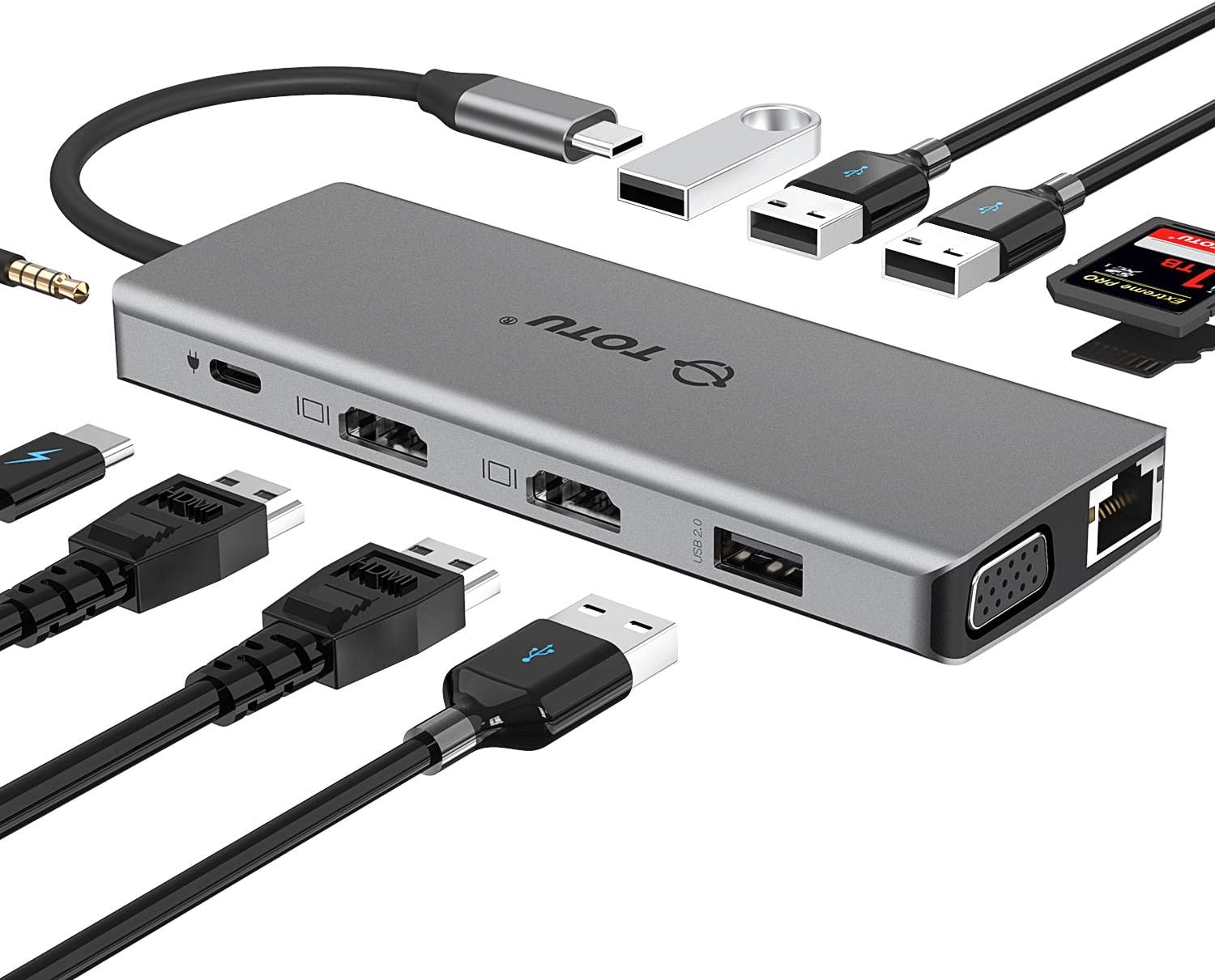 USB C Hub, TOTU 13-in-1 Type C Hub with Ethernet, 4K USB C to 2 HDMI, VGA, 2 USB 3.0, 2 USB 2.0, 100W PD, SD/TF Cards Reader, Mic/Audio Docking Station for MacBook Pro Air XPS and Other USB-C Laptops
