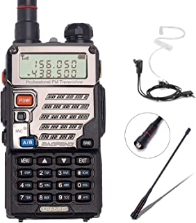 BaoFeng UV-5RE+ 8Watt Ham Radio Handheld Rechargeable with Gamtaai NA-771 Telescopic Antenna+Acoustic Tube Earpiece+2800mAh Large Battery,VHF/UHF Two Way Radio Long Range Walkie Talkies (Black)