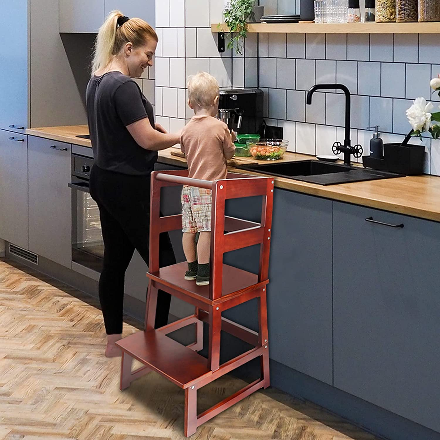 WishaLife Kids Kitchen Step Stool with Safety Rail, Toddler Kitchen Stool for Toddlers 18 Months and Older, Children Standing Tower, Kids Wooden Step Stool Tower for Kitchen Counter Learning
