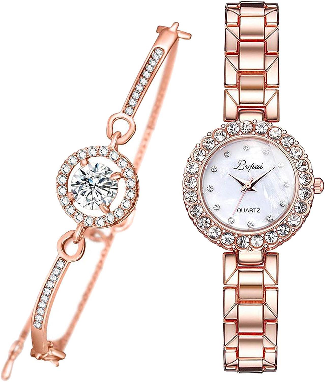 Conjunto de Regalo de Joyería de Pulsera Y Reloj de Niña para Mujer - Rosa Rojo Blanco