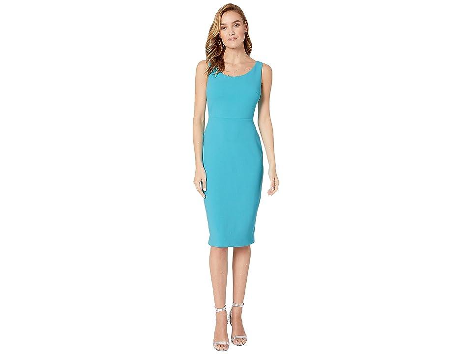 Betsey Johnson Scuba Crepe Midi Dress (Scuba Blue) Women