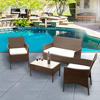 Panana Outdoor Patio Furniture 4 Pieces Rattan Patio Set Wicker Garden Furniture Table and Chairs Conversation Outdoor Brown