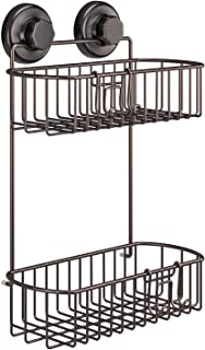 HASKO accessories Shower Caddy with Suction Cups | 304 Stainless Steel | Adhesive 3M Stick Discs | 2 Tier Basket for Bathroom and Kitchen Storage (Bronze)