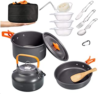 Overmont 1.95 Liter (Pot+ Kettle) Camping Cookware Set...