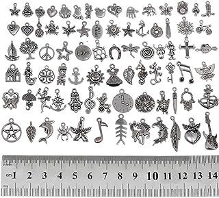 RUBYCA Wholesale Bulk Mixed Charms and Pendants for Jewelry Making 80 PCS Silver TIBETPEN-MIX5-80PCS