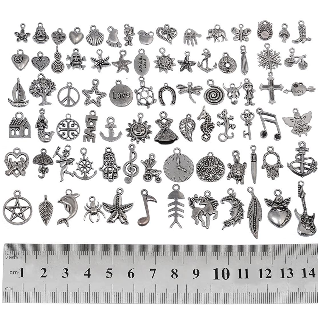 RUBYCA 160Pcs Assorted Mixed Silver Charms Pendants for Bracelets Jewelry Making Crafting Supplies, Tibetan Silver Color Charms, Just Like the Picture (Mix5)