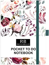 RICCO BELLO Hardcover Pocket to Do List Notebook, Pen Loop, Bookmark, 4.25 x 6 inches (Blossoms)