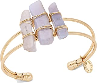 Ali Khan Bracelet Gold-Tone Purple Stone Open Cuff Bangle