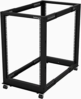 "StarTech.com 19 Inch 18U Open Frame Rack - 4 Post - 22-40"" Adjustable Depth - 1200 lb. Capacity w/Casters and Cable Hooks (4POSTRACK18U)"