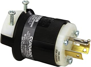 Hubbell HBL9965C Locking Plug, 3 Pole, 3 Wire, 20 amp, 125/250V, Black and White