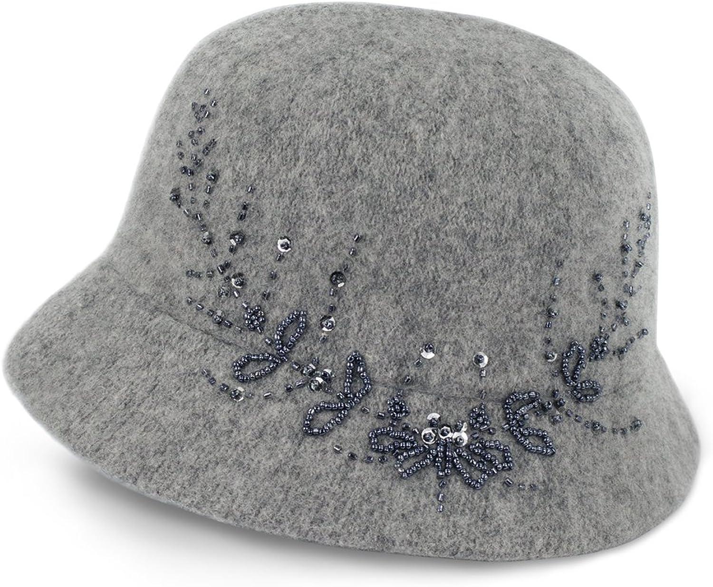 Dahlia Women's Wool Blend Hand Beaded Winter Bucket Hat  Cloche Hat
