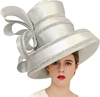 Koola Women's Silvery Church Derby Hat Big Wide Brim Wedding Hat Tea Party Hat