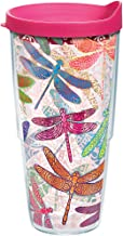 Tervis 1245295 Dragonfly Mandala Tumbler with Wrap and Fuchsia Lid 24oz, Clear