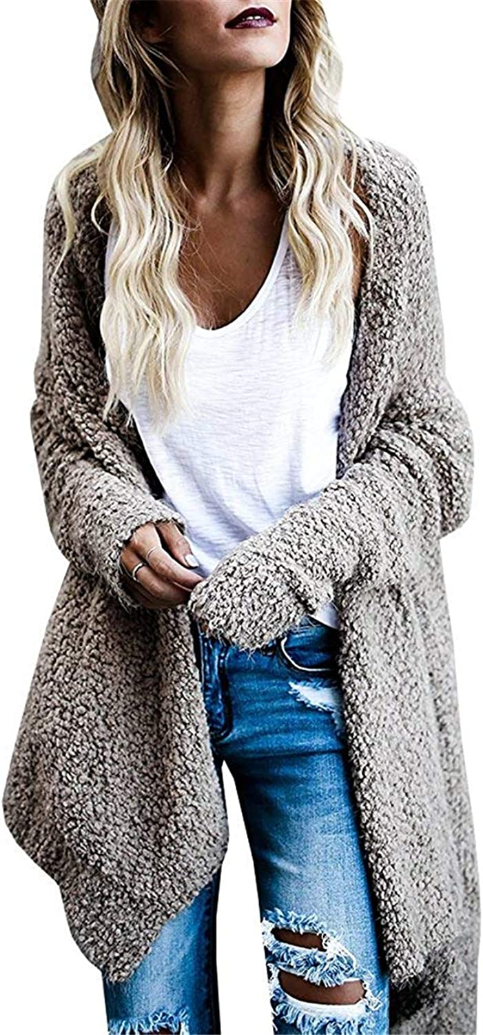 Cloudless Womens Long Hooded Cardigans Fall Pockets Knit Plain Sweaters Outwear