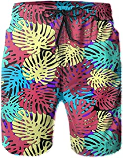 QUEMIN Colorful Tropical Leaves Colorful Tropical Leaves Fashion Mens Swim Trunks Quick Dry Beach Shorts