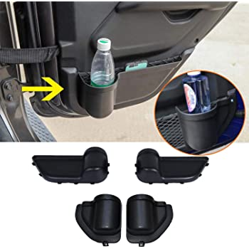 YOCTM Front and Rear Door Organizer Tray For 2018 2019 2020 Jeep Wrangler JL JLU Rubicon Sport Sahara 2020 Gladiator Interior Storage Accessories Black Front Door + Rear Door
