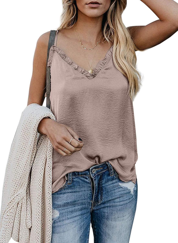 Aleumdr Women's Sleeveless V Neck Ruffle Camisole Tank Top Summer Adjustable Spaghetti Shirt