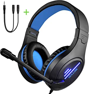 COLUSI CLS-100 Gaming Headset (3.5mm Surround Sound, Locate Enemy's Positions by Voice) Mic Cancel Over-Ear Gaming Headphones with LED Light for PS4, PC, Xbox One, Mobile Phone, Nintendo Switch (Black&Blue)