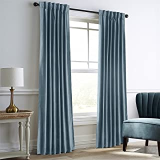 Dreaming Casa Darkening Blue Velvet Curtains for Living Room,Thermal Insulated Rod Pocket/Back Tab Window Curtain for Bedroom(2 Top Construction Combination,42