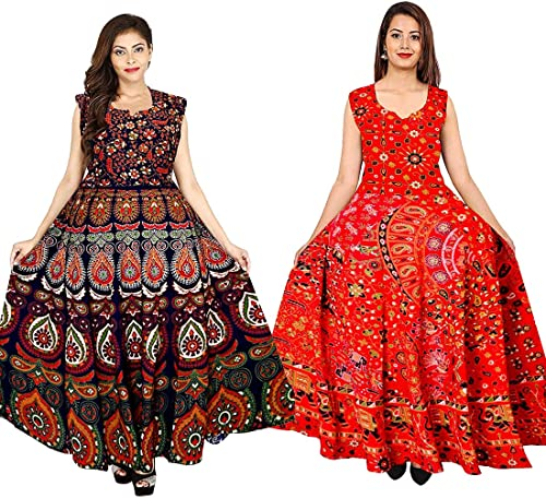 100 Pure Cotton Rajasthani Print Long Western Multicolour Maxi Dress for Women Free Size Combo of 2 Pices