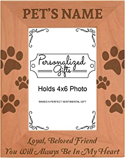 Custom Pet Bereavement Gift Add Name Personalized Natural Wood Engraved 4x6 Portrait Picture Frame