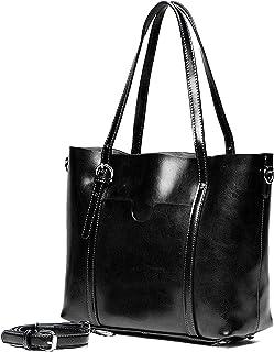 YALUXE Handtasche Damen Echtleder Shopper Style Vintage weiche Arbeit Tote Schultertasche