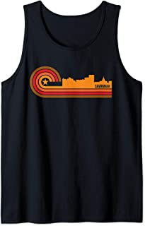 Retro Savannah Cityscape - Savannah GA Skyline Tank Top