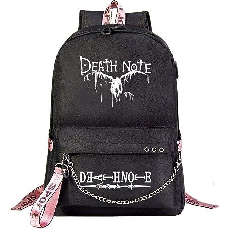 MUATE Anime Death Note USB Mochila Escolar Adolescentes Dibujos Animados Moda Casual Mochila De Viaje Mochila