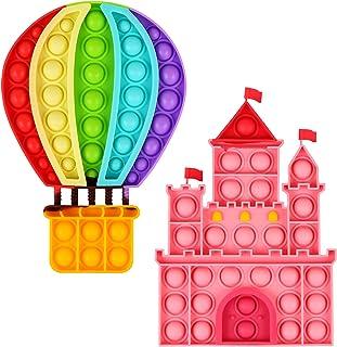 Aunifun 2 Pack Push Pop Bubble Sensory Fidget Toys, Simple Fidget Toy Pack Bubble Popper Silicone Squeeze Toy Stress Relie...